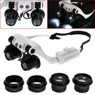8 Lens Double Eye Jewelry Watch Repair Magnifier Loupe Glasses With LED Light