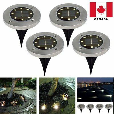 4 Pack 8-LED Solar Power Disk Lights Buried Light Under Ground Lamp Canada