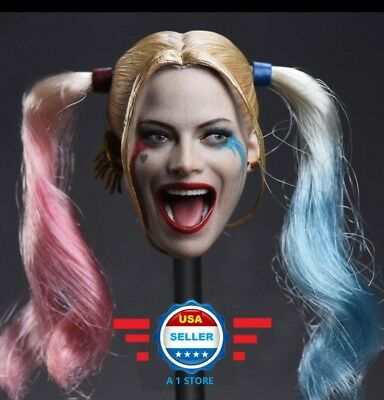 1/6 Harley Quinn Head Sculpt Suicide Squad REMOVABLE Hair for 12'' Female Figure