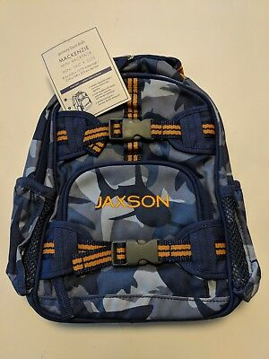 Pottery Barn Kids Backpack, Sharks, Camo Blues/Orange, Jaxson, Pre-K Mini, New