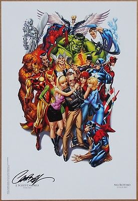 Stan Lee Marvel Heroes (colour) Art Print signed by J. Scott Campbell