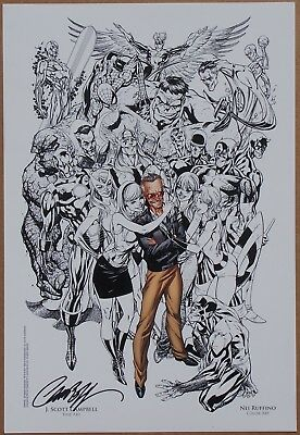 Stan Lee Marvel Heroes (black & white) Art Print signed by J. Scott Campbell