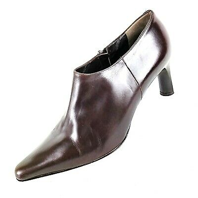 f3b796b512 ANNE KLEIN Italy Womens Size 8.5M Brown Leather Pumps Side Zip Heel Bootie  Shoes