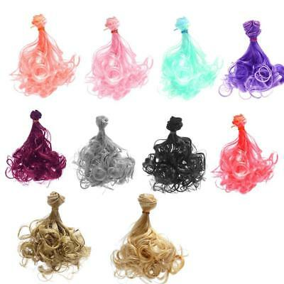 100x15cm Long DIY Colorful Curly Wave Doll Wigs Synthetic Hair For BJD Dolls