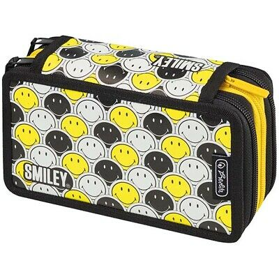 Herlitz Triple Decker SmileyWorld Black & Yellow Faces Etui Federmappe 31-teilig