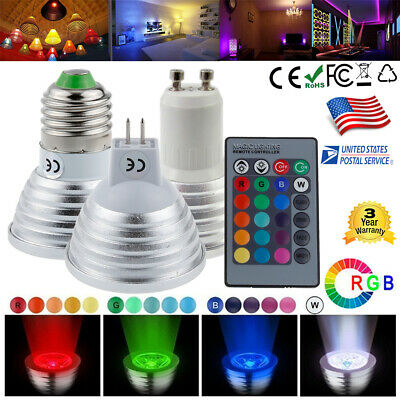 GU10 MR16 E27 LED RGB Magic 16 Color Light Spot Down Bulb + IR Remote Control