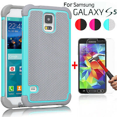 For Samsung Galaxy S5 Case Armor Hybrid Rugged Hard Cover+Glass Screen Protector