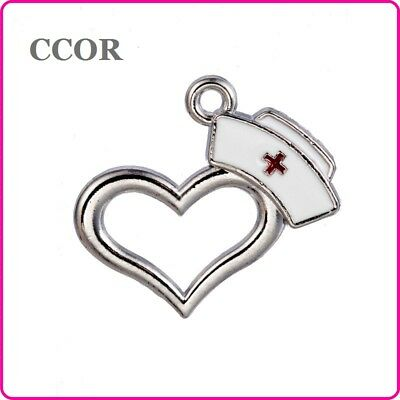 "20pcs Alloy ""Nurse Hat"" Antique Silver Hang Pendant DIY Accessories For Necklace"