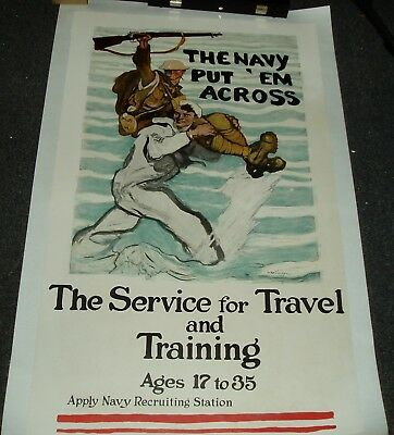 The Navy Put Em' Across Ww1/world War One Rare 1918 Poster By Reuterdahl