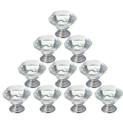 CA Zinc alloy clear glass crystal cabinet drawer door pulls knobs handle