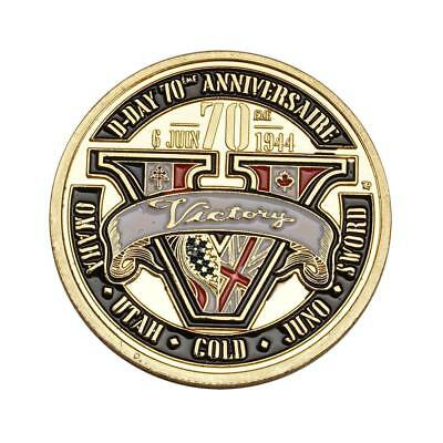 1pcs colorful Gold Coin D-Day Victory Coin Collect Commemorative Coin