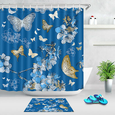 Blue Background Flowers Butterflies Shower Curtain Set Waterproof Fabric Hooks