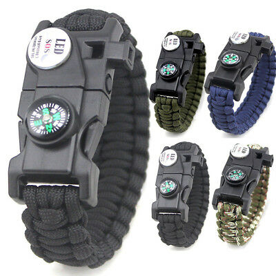 6 Colors Braided Bracelet LED Paracord Compass Survival Outdoor Camping Rope