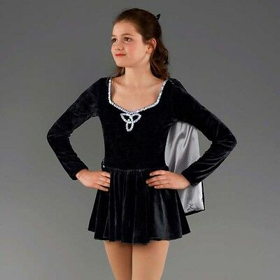 Black & Silver Velour Irish Dance Dress With Cape
