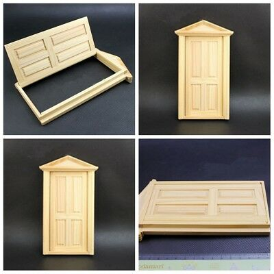 1/12 Dollhouse Miniature Unpainted Wooden Door Window Furniture DIY Accessories