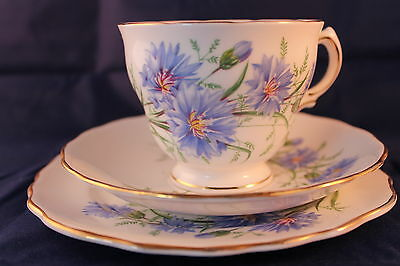 ROYAL VALE TRIO 1962'c RIDGWAY POTTERIES CORNFLOWER PATTERN CUP SAUCER PLATE