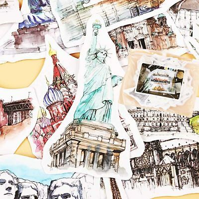 Diary Building Paper Stickers Watercolor Travel Around The World Hand-Painted