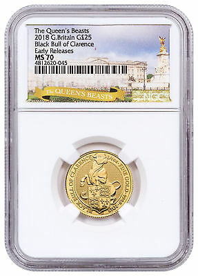 2018 Britain 1/4 oz Gold Queen's Beasts Black Bull Clarence NGC MS70 ER SKU53223
