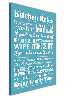 Kitchen Rules Quote Canvas Picture Wall Art Print Giclee Artwork Home Décor