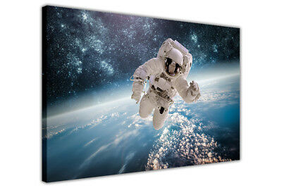 Astronaut Earth and Stars Canvas Wall Art Picture Space Print Artwork Home Deco