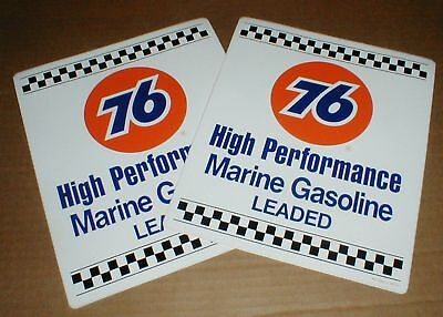 PAIR Union 76 Marine High-Perf Gasoline Gas Pump vintage New decal sticker lot