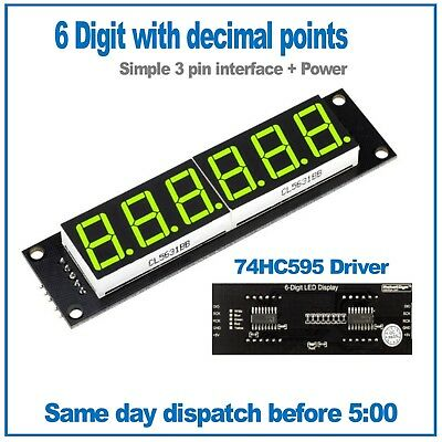 6 Digit Green seven segment led display module 74HC595 driver RobotDyn