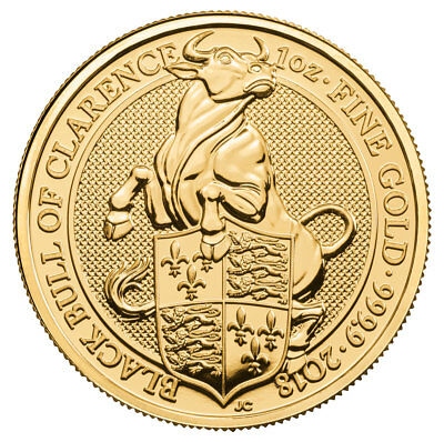 2018 Britain 1 oz Gold Queen's Beasts - Black Bull of Clarence £100 BU SKU52875
