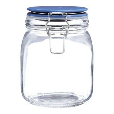 Glass Storage Jar With Colourful Air Tight Lid Retro Style - 1050ml Assorted