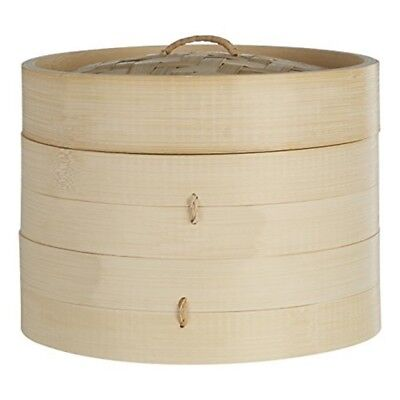 20.3cm Dia Small 2 Tier Round Bamboo Steamer - Food Basket Handles Lid Chinese