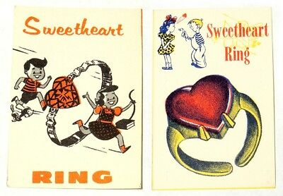 ESA0667. Vintage Lot of 2 SWEETHEART RING Vending Machine Paper Ad Pieces (1960s