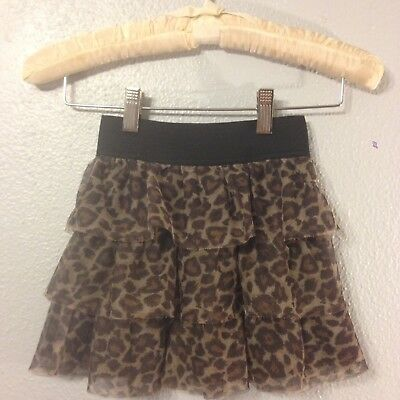 The Children's Place Child Girls Leopard Tiered Skirt Size Medium 7/8 B1