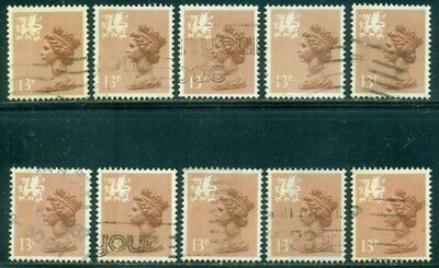 Great Britain Wales Sg-W38, Scott # Wmmh-21, Used, 10 Stamps, Great Price!