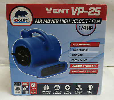 B-Air ¼ HP 900 CFM High Velocity Fan Vent Air Mover (VP-25)