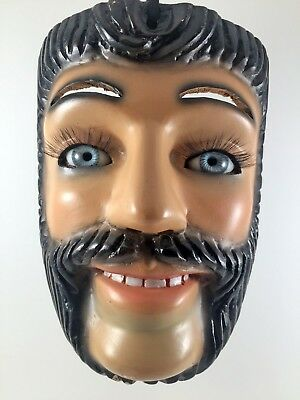 Hand Crafted Authentic Carnival Wooden mask from Silacayoapam Oaxaca, Mexico