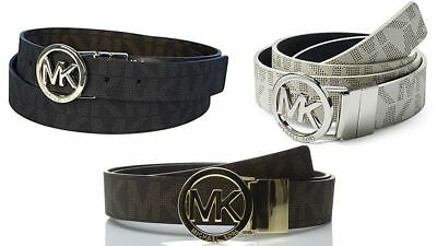 Michael Kors Mk Women's Reversible Belt 551342 Brown Vanilla Gold Mk Buckle L