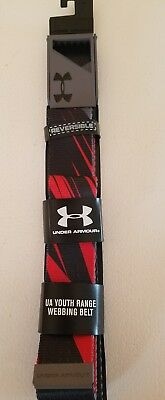 Under Armour boys youth One Size NWT Webbing Belt Reversible 1261847 black red