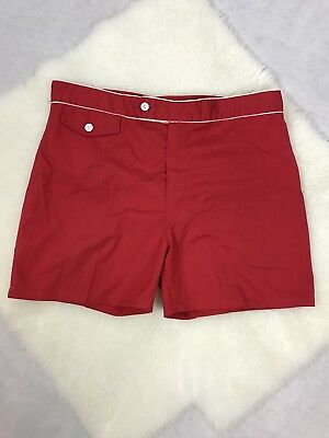 Robert Bruce Men's Swim Trunks VTG 1960's 70's Red White Short 38