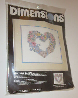 Heart Vine Wreath Crewel Kit Dimensions Flowers New Sealed Personalize Chart