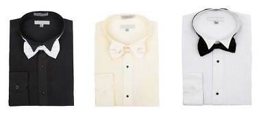 Men's Wingtip Collar Pleated Tuxedo Shirt Bow Tie