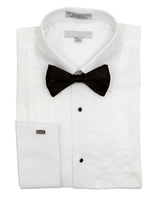 Men's Pointed Collar French Cuff Pleated Tuxedo Shirt Black Bow Tie