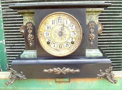 Antique SETH THOMAS Adamantine ART DECO Mantle Clock MERCURY HEAD sides BEAUTY!