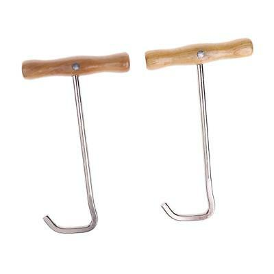 2pcs Stainless Steel Long Boots Pulls Hooks w/ Handle Equestrian Equipment