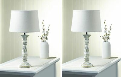 PAIR Set of 2 Antique Vtg Style English Cottage Table Lamps w/ Shades Bases Lot