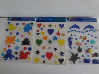 Large Packs Reusable Gel Cling Stickers-Gel Art Windows Stickers Many Designs