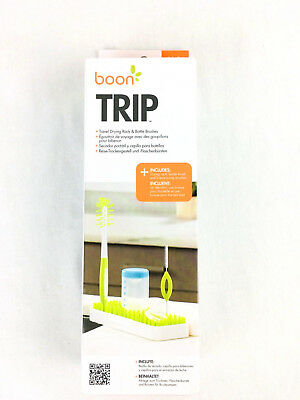 Boon TRIP Travel Drying Rack Green White On the Go rack with cleaning tools
