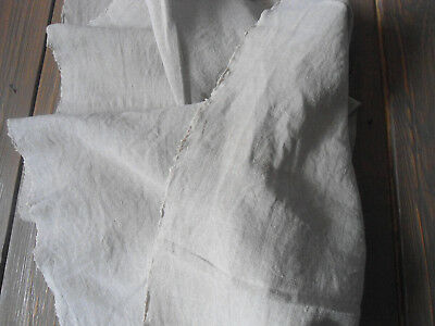 Antique Handwoven Natural  Organic Linen Fabric  Homespun Old Flax with DEFECT