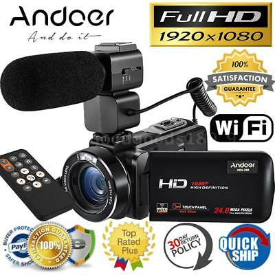 "Andoer WiFi FULL HD 1080P 24MP 3"" LCD Videocamera Digitale Videocamera Microfono"