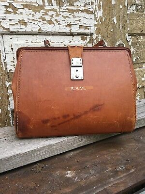 Vintage Leather Physician Doctor's Bag Lawyer Briefcase