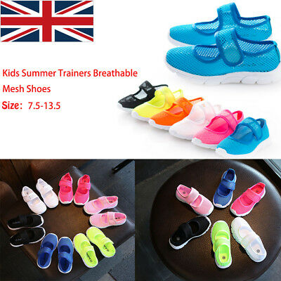 New Kids Boys Girls Summer Beach Flat Sandals Trainers Breathable Mesh Shoes