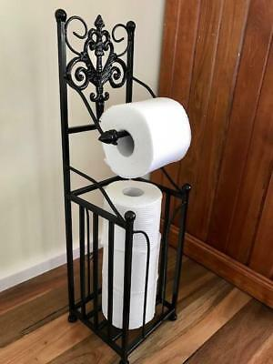 Elegant Iron French Style Toilet Paper Roll Holder Stand With Storage BLK HYL018